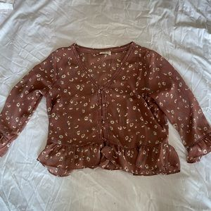Pink loose fit blouse with flowers